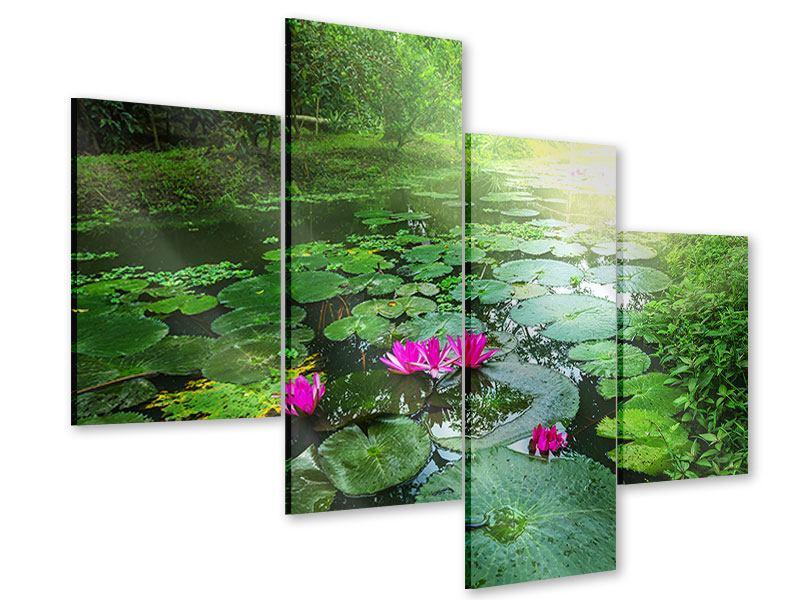 Acrylglasbild 4-teilig modern Gartenteich