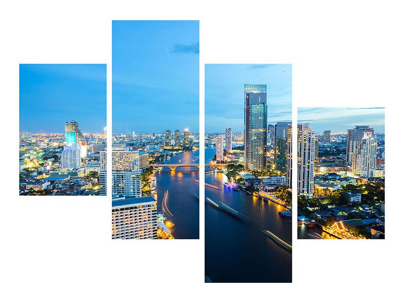 Acrylglasbild 4-teilig modern Skyline Bangkok in der Abenddämmerung