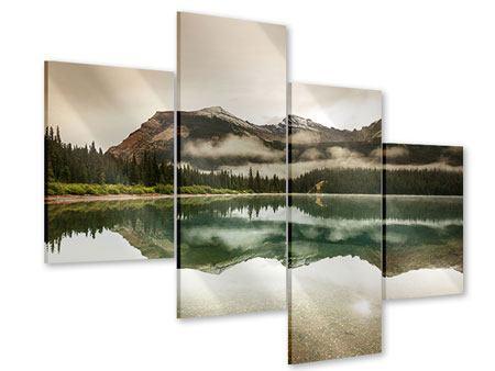 Acrylglasbild 4-teilig modern Spiegelung im Glacier Nationalpark
