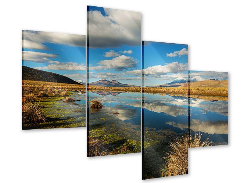 Acrylglasbild 4-teilig modern Wasserspiegelung am See