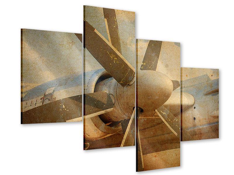 Acrylglasbild 4-teilig modern Propellerflugzeug im Grungestil