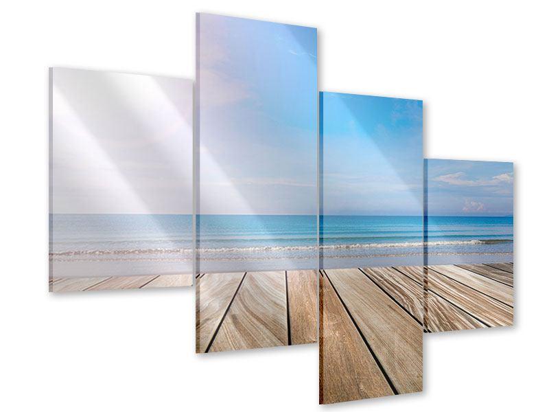 Acrylglasbild 4-teilig modern Das schöne Strandhaus