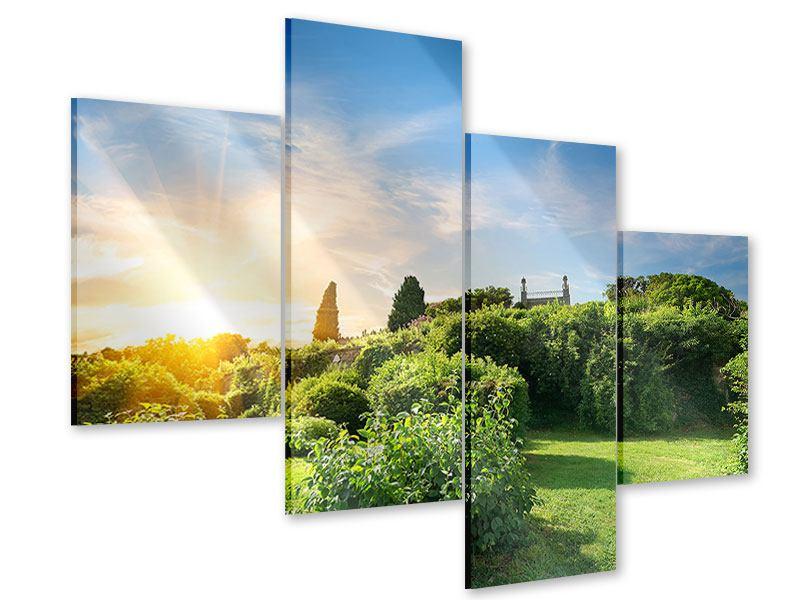 Acrylglasbild 4-teilig modern Sonnenaufgang im Park