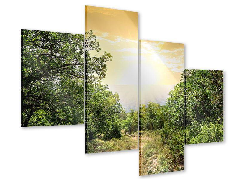 Acrylglasbild 4-teilig modern Am Ende des Waldes