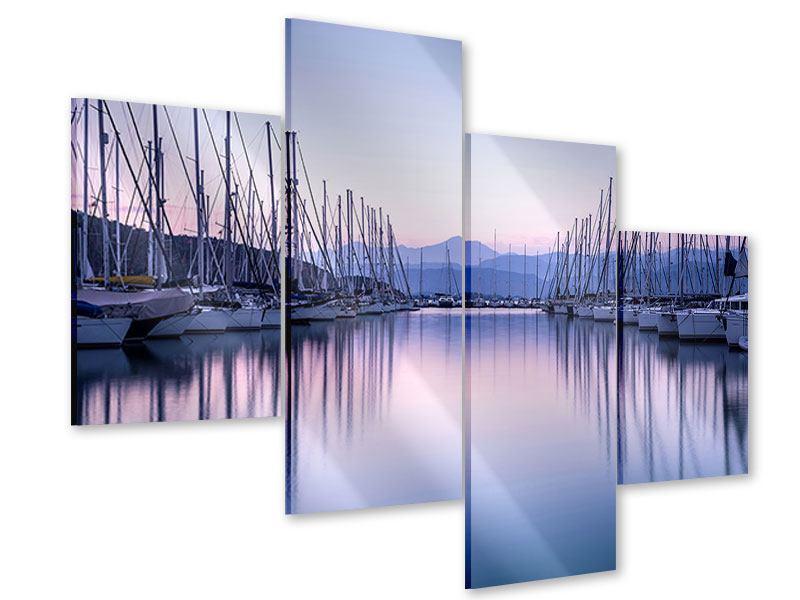 Acrylglasbild 4-teilig modern Yachthafen