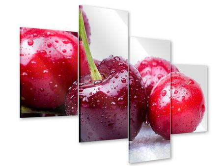 Acrylglasbild 4-teilig modern Kirschen