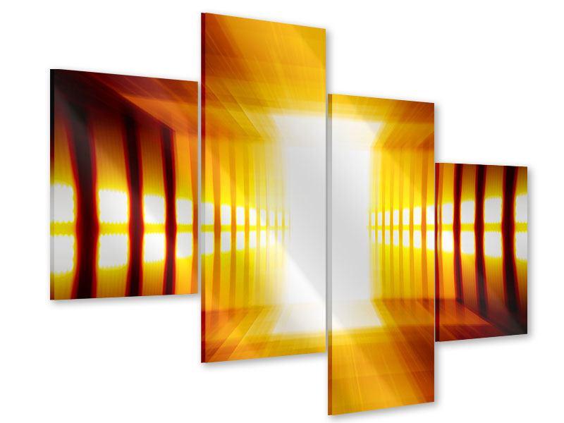 Acrylglasbild 4-teilig modern Abstrakter Goldener Raum