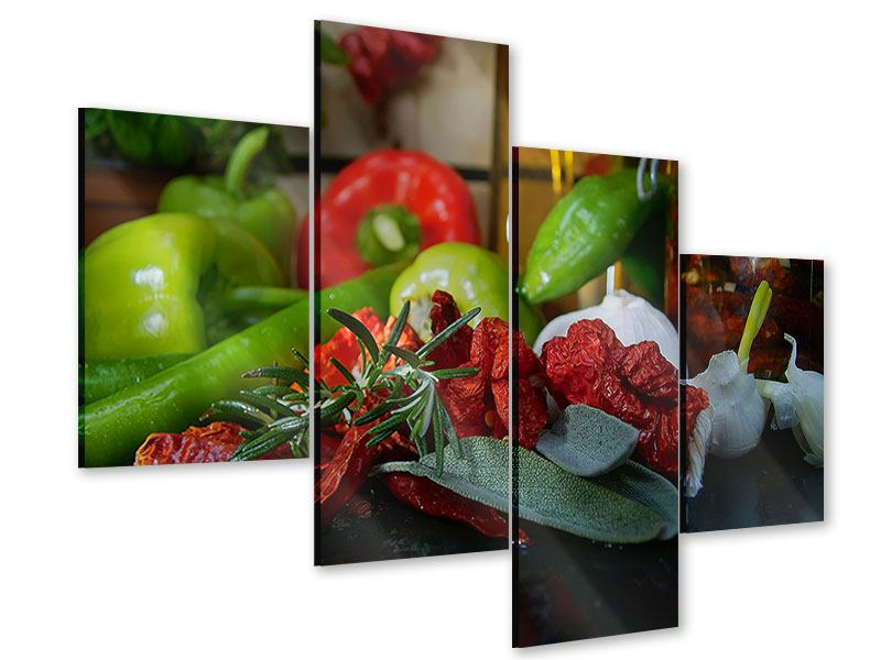 Acrylglasbild 4-teilig modern Mediterranes Gemüse