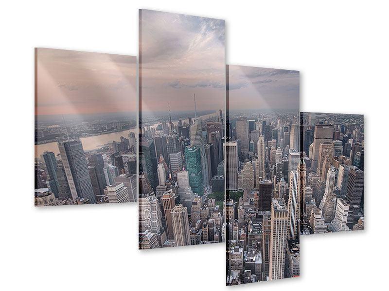 Acrylglasbild 4-teilig modern Skyline Blick über Manhattan