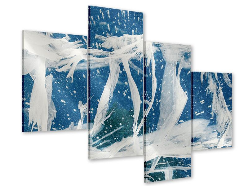 Acrylglasbild 4-teilig modern Eiskristalle
