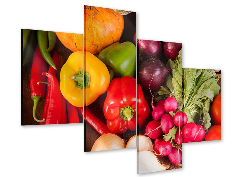 Acrylglasbild 4-teilig modern Gemüsefrische