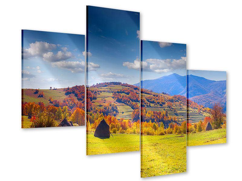 Acrylglasbild 4-teilig modern Herbstliche Berglandschaft