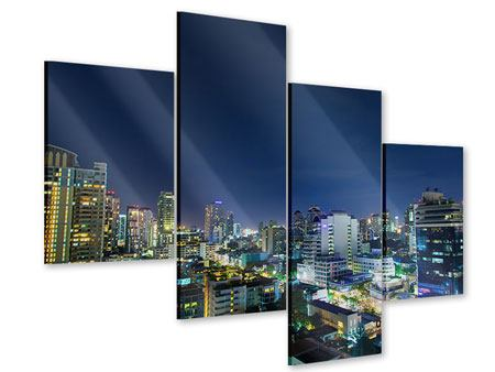 Acrylglasbild 4-teilig modern Skyline Nachts in Bangkok