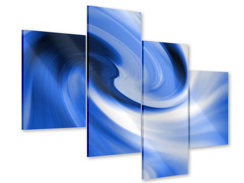 Acrylglasbild 4-teilig modern Abstrakte blaue Welle