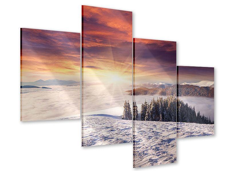 Acrylglasbild 4-teilig modern Sonnenaufgang Winterlandschaft