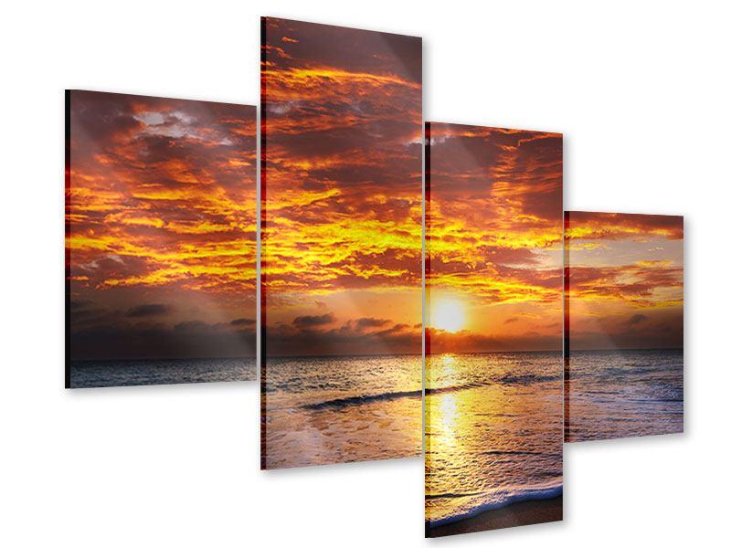 Acrylglasbild 4-teilig modern Entspannung am Meer