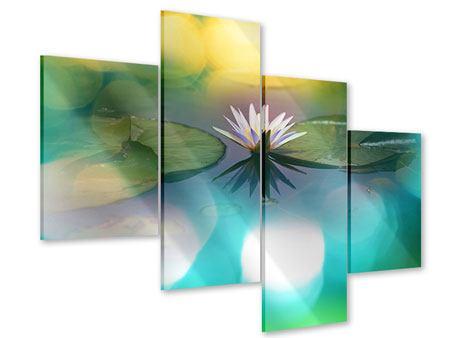 Acrylglasbild 4-teilig modern Lotus-Spiegelung