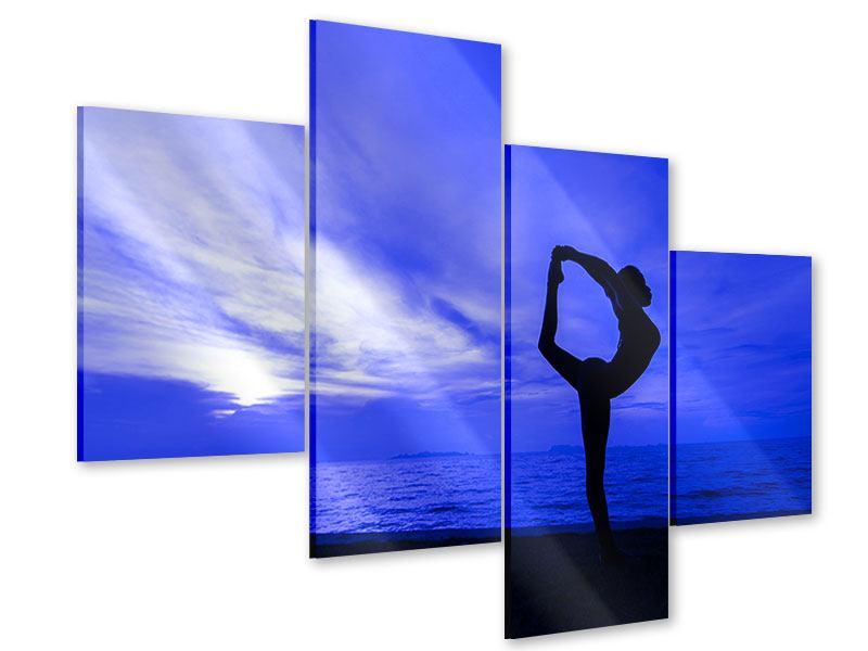 Acrylglasbild 4-teilig modern Yogaübung am Strand