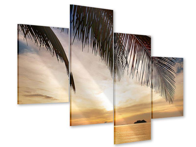 Acrylglasbild 4-teilig modern Strandpalme