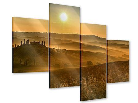 Acrylglasbild 4-teilig modern Sonnenuntergang im Gebirge