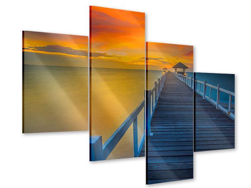 Acrylglasbild 4-teilig modern Eine Holzbrücke im fernen Osten