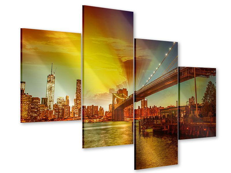 Acrylglasbild 4-teilig modern Skyline Brooklyn Bridge NY