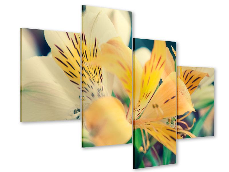 Acrylglasbild 4-teilig modern Tigerlilien