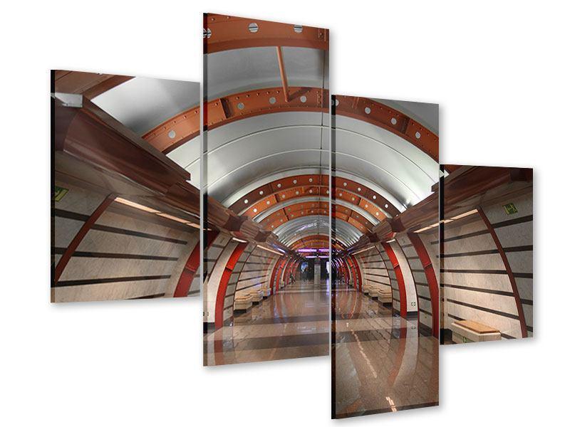 Acrylglasbild 4-teilig modern U-Bahn Station