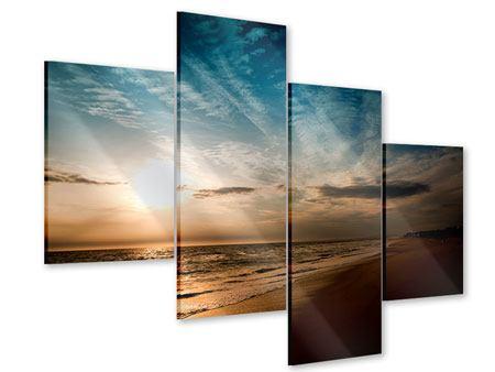 Acrylglasbild 4-teilig modern Strandspaziergang