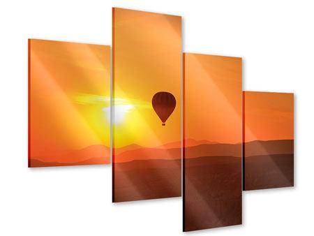 Acrylglasbild 4-teilig modern Heissluftballon bei Sonnenuntergang