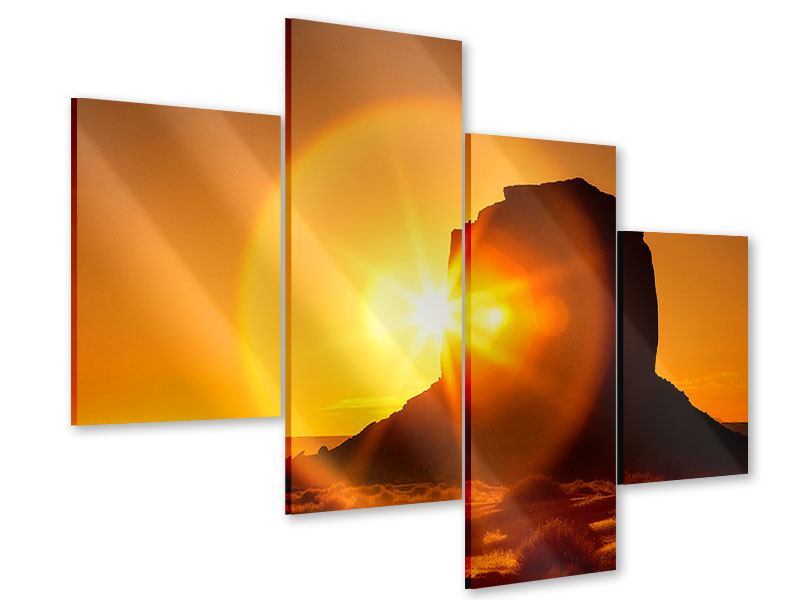 Acrylglasbild 4-teilig modern Sonnenuntergang Monument Valley