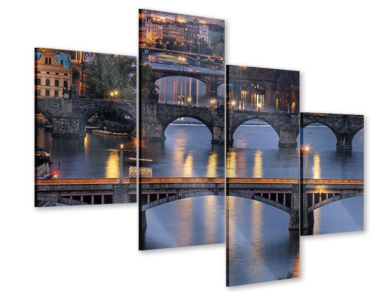Acrylglasbild 4-teilig modern Brücken in Prag