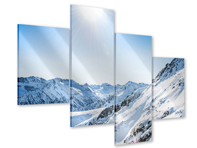 Acrylglasbild 4-teilig modern Bergpanorama im Schnee