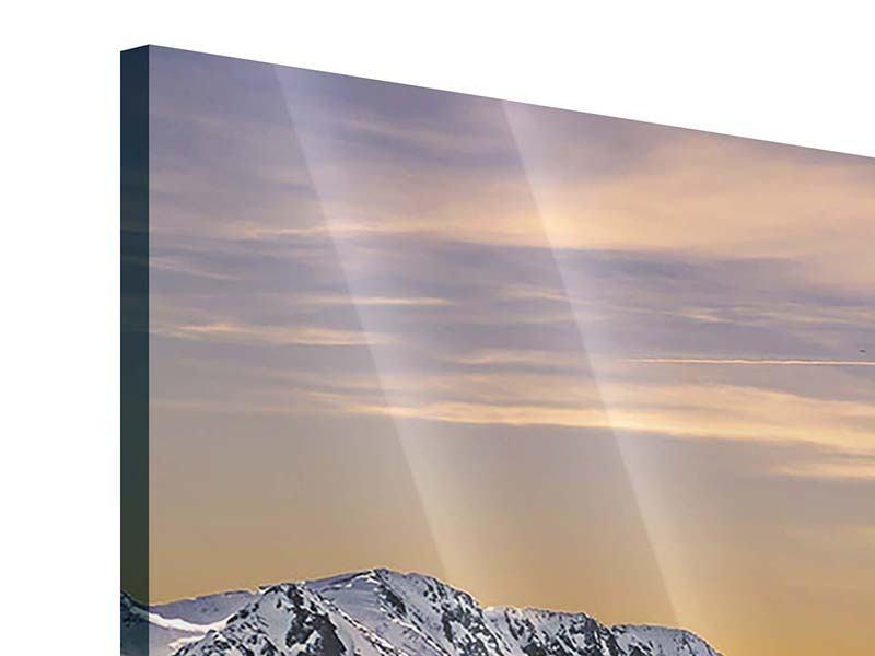 Acrylglasbild 4-teilig modern Sonnenuntergang in den Bergen