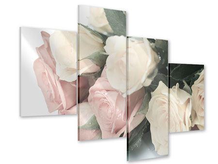 Acrylglasbild 4-teilig modern Rosenromantik