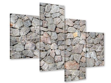 Acrylglasbild 4-teilig modern Grunge-Stil Mauer
