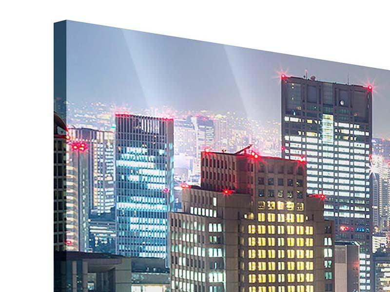 Acrylglasbild 4-teilig modern Skyline Osaka im Lichtermeer