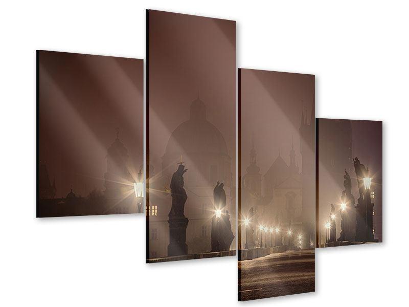 Acrylglasbild 4-teilig modern Die Karlsbrücke bei Nacht