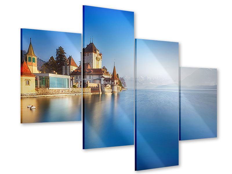 Acrylglasbild 4-teilig modern Schloss Oberhofen am Thunersee