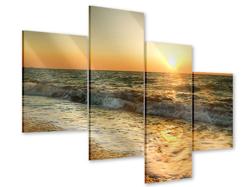 Acrylglasbild 4-teilig modern Sonnenuntergang am Meer