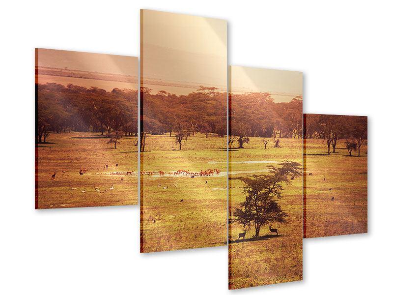 Acrylglasbild 4-teilig modern Malerisches Afrika