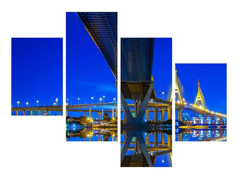 Acrylglasbild 4-teilig modern Bhumiboll-Brücke