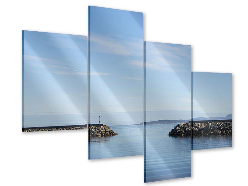 Acrylglasbild 4-teilig modern Hafenmauern
