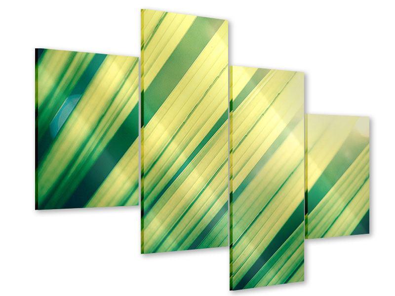 Acrylglasbild 4-teilig modern Beleuchtetes Palmblatt