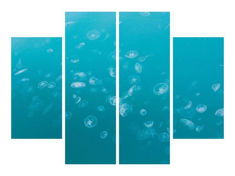 Acrylglasbild 4-teilig Viele Quallen