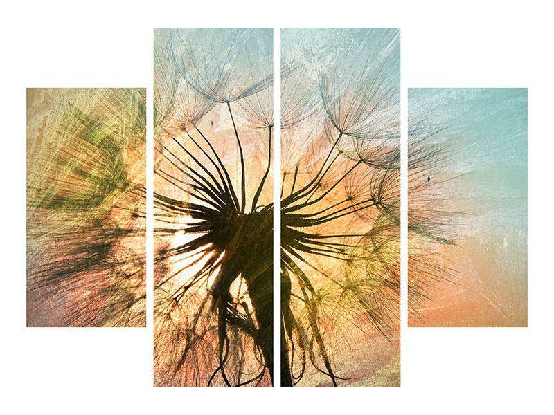 Acrylglasbild 4-teilig XXL Pusteblume