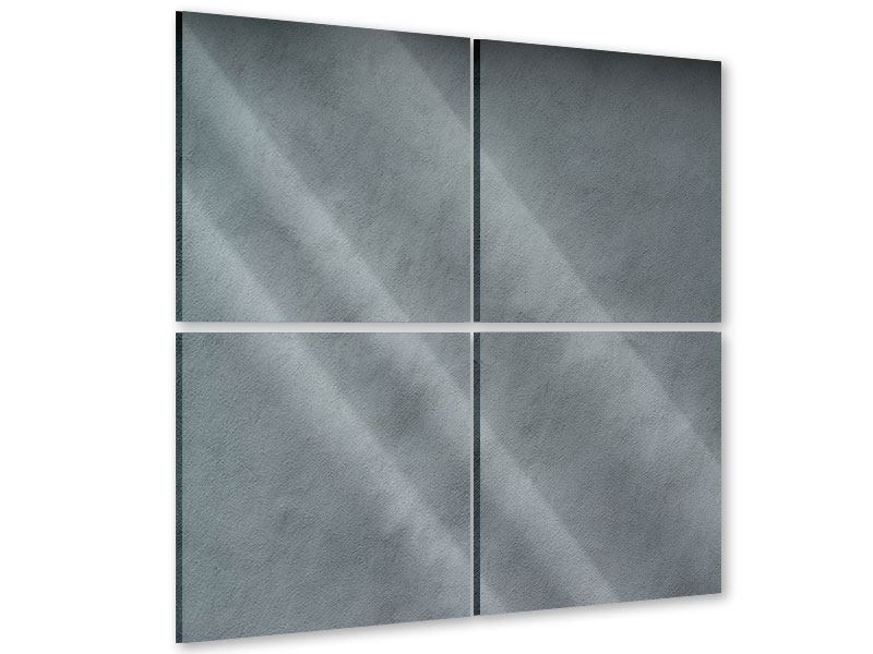 Acrylglasbild 4-teilig Dunkelgraue Wand