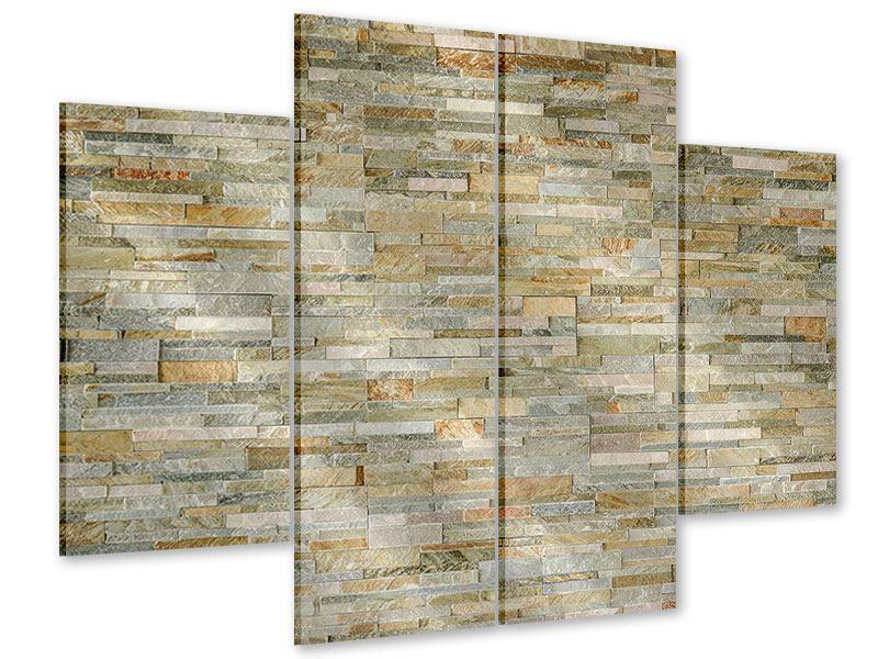 Acrylglasbild 4-teilig Edle Steinmauer