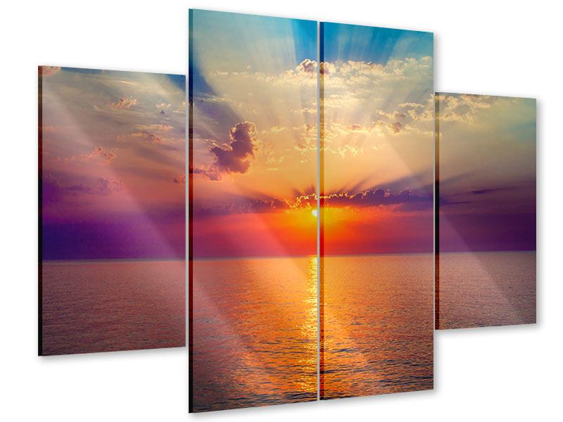 Acrylglasbild 4-teilig Mystischer Sonnenaufgang