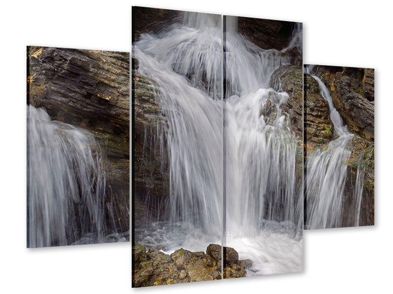 Acrylglasbild 4-teilig Wasserfall XXL